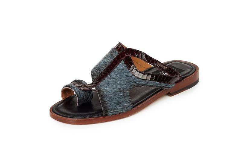 Mauri - 1222 Savana Barracuda Genuine Pony Hair Corrison / Burgundy Snake Sandals - Dudes Boutique