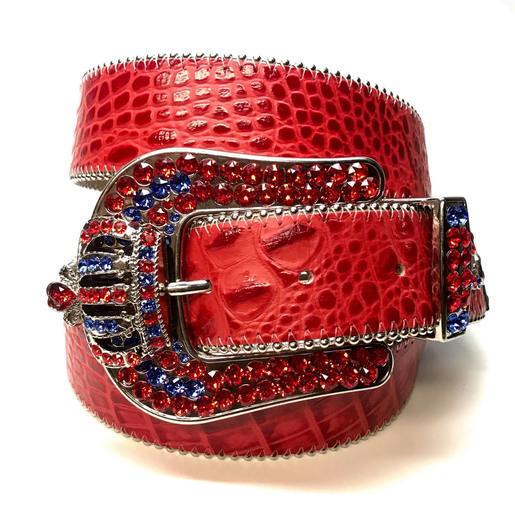 "B.B Simon ""Red Blue Crown"" Fully Loaded Crystal Belt - Dudes Boutique"