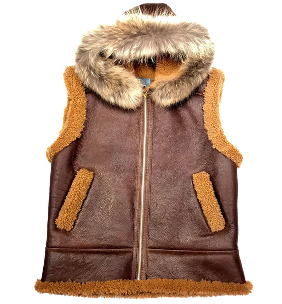 Kashani Chocolate Brown Fox Fur Shearling Vest