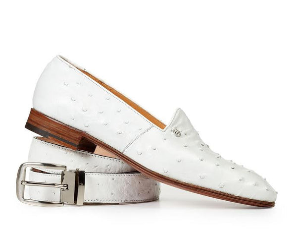 Mauri - 4732 Bianca White Ostrich Quill Loafers - Dudes Boutique