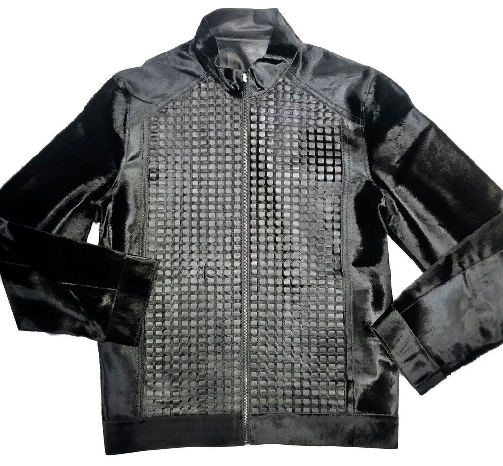 Aston Checkered Pony Hair Reversible Bomber Jacket