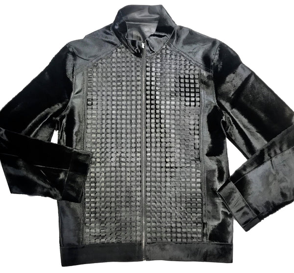 Aston Checkered Pony Hair Reversible Bomber Jacket - Dudes Boutique