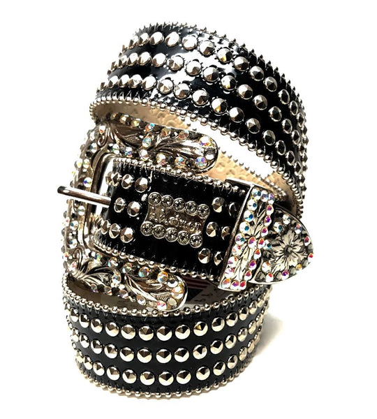 b.b. Simon 'Triple Studded' Patent Swarovski Crystal Belt