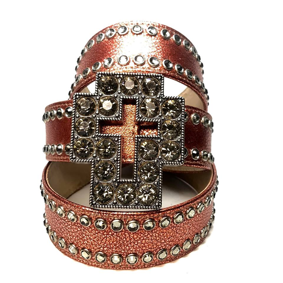 b.b. Simon 'Cross Orange Chrome' Double Row Crystal Belt - Dudes Boutique