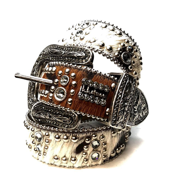 b.b. Simon 'Brown Butter Studded' Pony Swarovski Crystal Belt