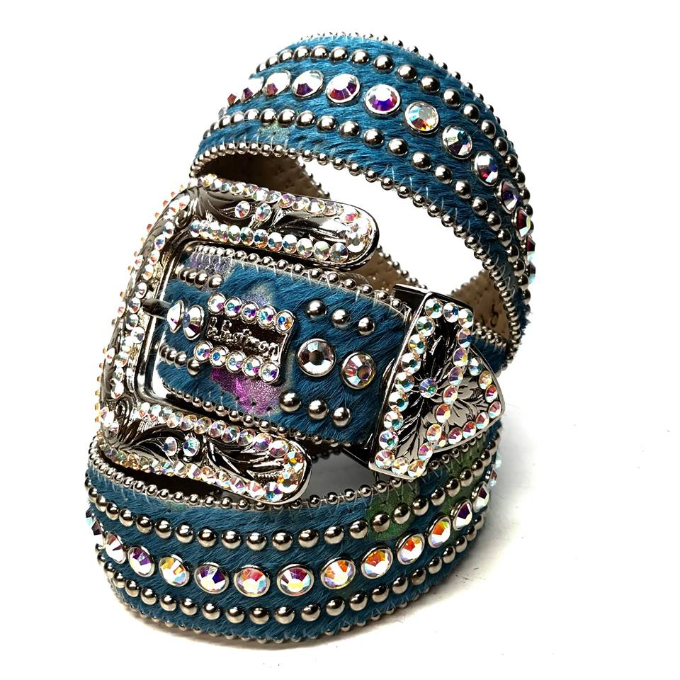 b.b. Simon 'Ocean Blue' Pony Swarovski Crystal Belt