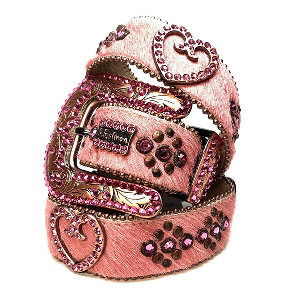 b.b. Simon 'Pink Heart' Pony Swarovski Crystal Belt