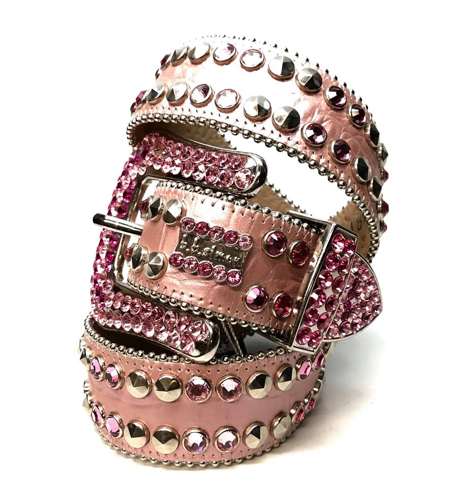 b.b. Simon 'Pink Double Studded' Swarovski Crystal Belt - Dudes Boutique