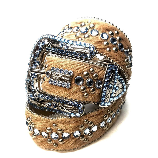 b.b. Simon 'Blue Brown Link' Pony Swarovski Crystal Belt