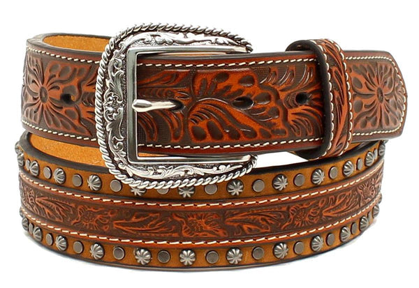 Brandy Studded Engraved Western Leather Belt - Dudes Boutique