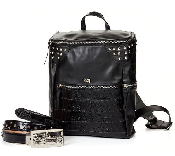 Mauri - B83 Black Baby Crocodile Soft Calf Travel Bag - Dudes Boutique