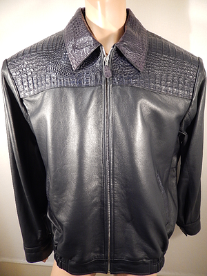 G Gator - Navy Horn Back Crocodile and Lamb Skin Jacket - Dudes Boutique