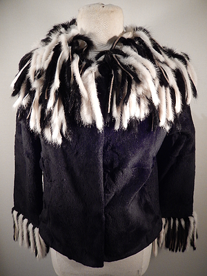 Charm Furs Black Rex , Rabbit , Mink Tassle Fur Coat - Dudes Boutique
