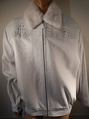 G Gator - White Crocodile Mink and Lamb Skin Jacket - Dudes Boutique