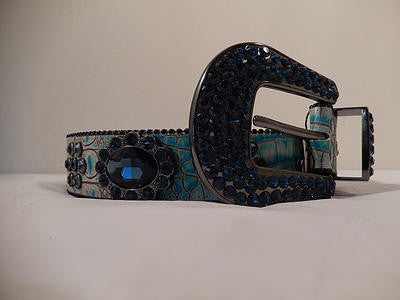 B.B. Simon Navy And Teal Swarovski Crystal Belt - Dudes Boutique