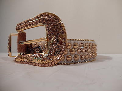 B.B. Simon Gold Studded Brown And White Pony Hair Swarovski Crystal Belt - Dudes Boutique