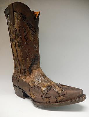 Safari Chocolate Caramel Crazy Horse Cowboy Boots - Dudes Boutique - 1