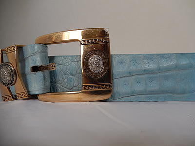Los Altos Gold and Blue Horn Back Crocodile Belt - Dudes Boutique - 3