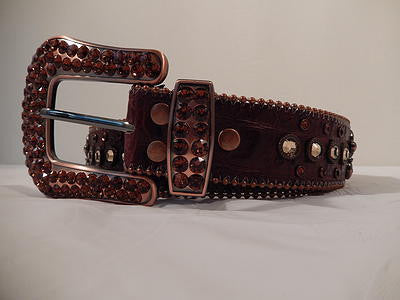B.B. Simon Brown Pony Hair Swarovski Crystals Belt - Dudes Boutique