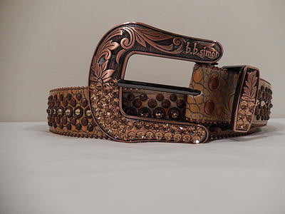 B.B. Simon Rust And Bronze Swarovski Crystal Belt - Dudes Boutique