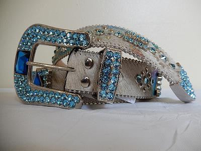 "B.B. Simon ""Sky Blue"" Swarovski Crystal Pony Hair Belt - Dudes Boutique"