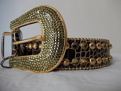 B.B. Simon Studded Golden Swarovski Crystal Belt - Dudes Boutique