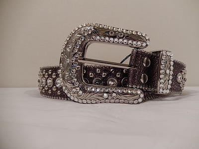 B.B. Simon Silver Studded Swarovski Crystal Belt - Dudes Boutique