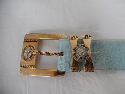Los Altos Gold and Blue Horn Back Crocodile Belt - Dudes Boutique - 1