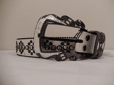 B.B. Simon White Gator Print Studded Swarovski Crystal Belt - Dudes Boutique