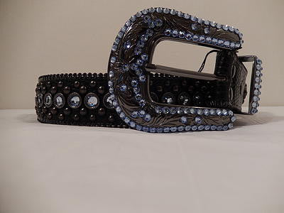 B.B. Simon Black And Blue Iris Swarovski Crystal Belt - Dudes Boutique