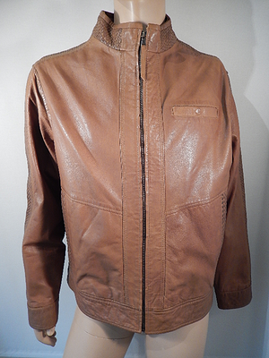 Missani Tan Leather Jacket - Dudes Boutique - 1