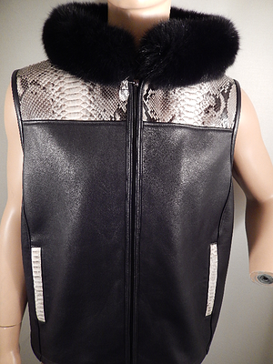 G Gator - 902H Black Natural Python and Fox Hooded Vest - Dudes Boutique