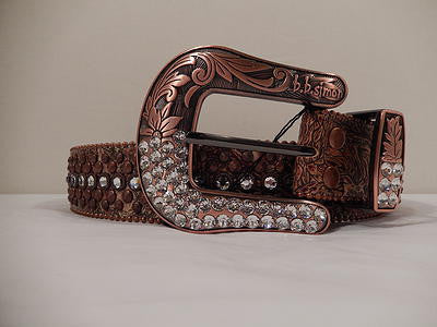 B.B. Simon Bronze And Silver Swarovski Crystal Belt - Dudes Boutique