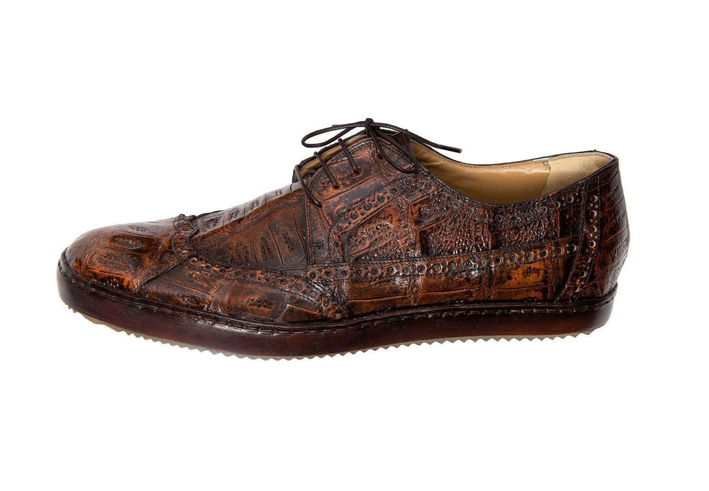 "Mauri - ""8518 Nuvola"" Hand Painted All Over Crocodile Wing Tip Shoe - Dudes Boutique"