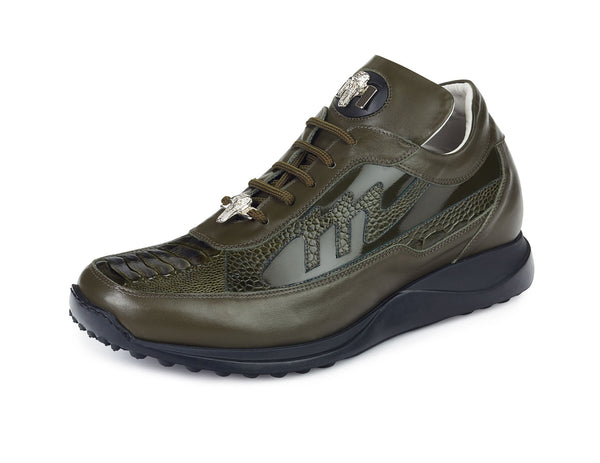 "Mauri - ""8555"" Nappa/Olive Ostrich Leg/Patent Leather Sneaker - Dudes Boutique"
