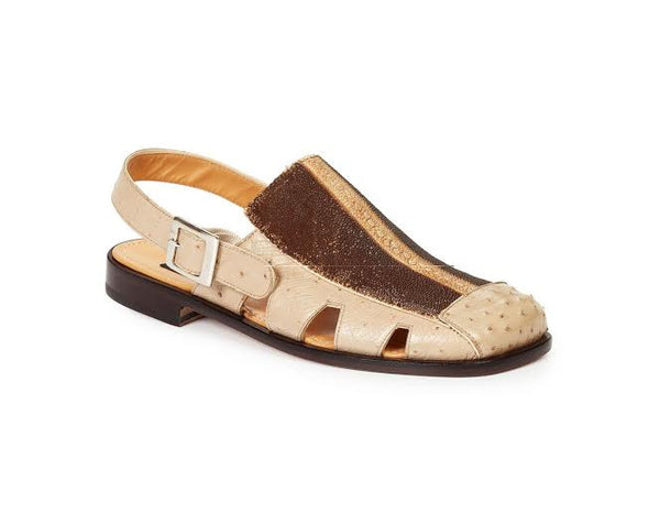 Mauri - 1972 Laguna White Genuine Ostrich Brown Beige Ray Highway Sandals - Dudes Boutique