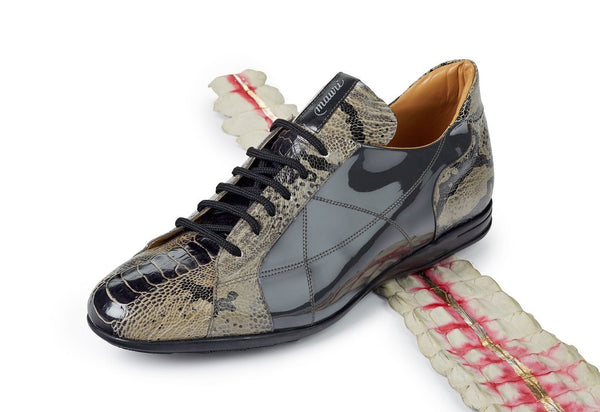 "Mauri ""8662"" Patent Grey Ostrich Leg/Python/Patent Leather Sneakers - Dudes Boutique"