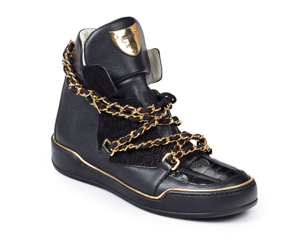 Mauri - 8683 Calf Alpine + Baby Crocodile + Black Suede Embossed High-top Sneakers