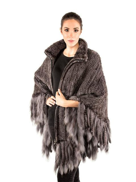 Volare Knitted Mink Poncho with Zipper & Fringes