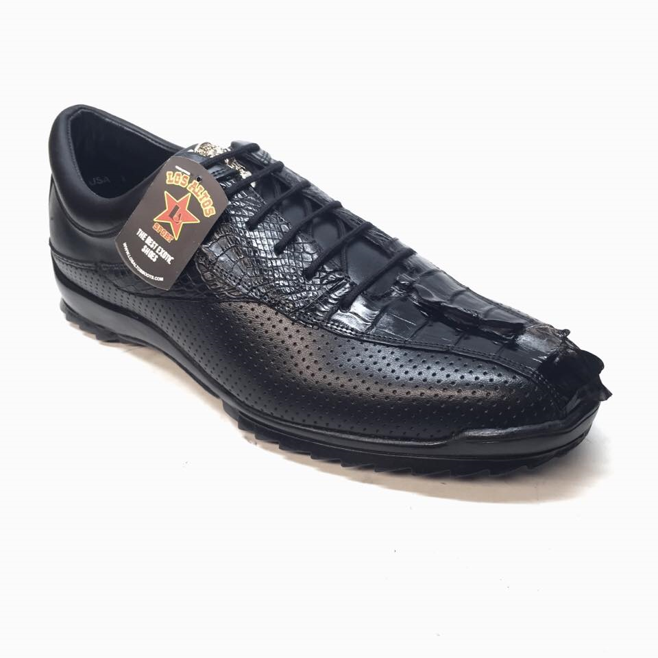 Los Altos Perforated Crocodile Tail Sneakers - Dudes Boutique