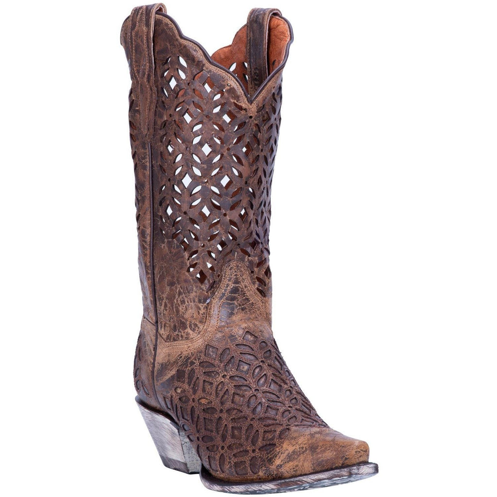"Dan Post Women's  ""Peek‑A‑Boo"" Dark Brown Leather Western Boots - Dudes Boutique"