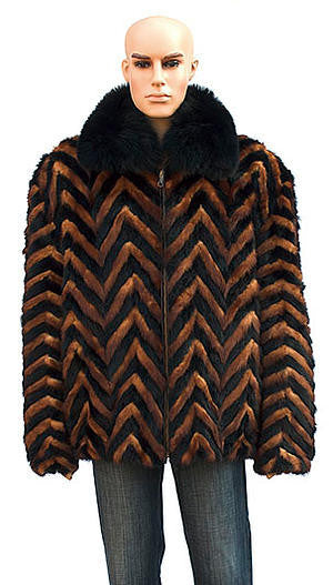 Winter Fur - M39R01BWK Mens Chevron Mink Jacket in Whiskey/Black - Dudes Boutique