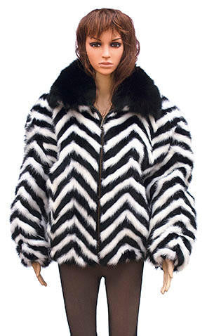 Winter Fur - W39S05BWB Chevron Mink Jacket in Black/White - Dudes Boutique