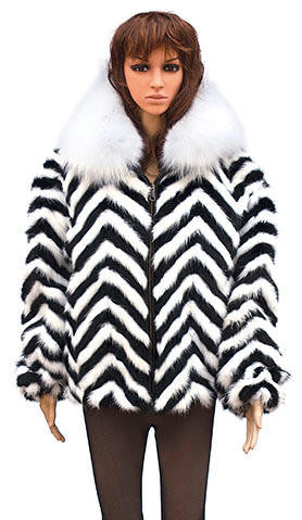 Winter Fur - W39S05BWW Ladies Chevron Mink Jacket in White/Black - Dudes Boutique