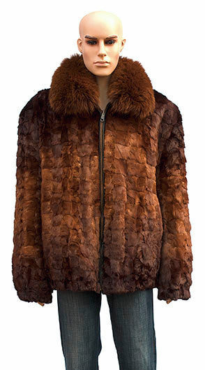 Winter Fur Men's Cognac Diamond Cut Mink Bomber Fur Coat