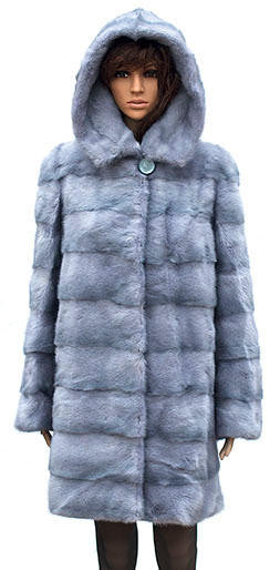 Winter Fur - W59Q08SA Women's 3/4 Hooded Mink Coat in Sapphire - Dudes Boutique