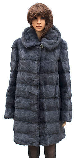 W59Q08BI Winter Fur - W59Q08BI Women's 3/4 Mink Coat in Blue Iris - Dudes Boutique