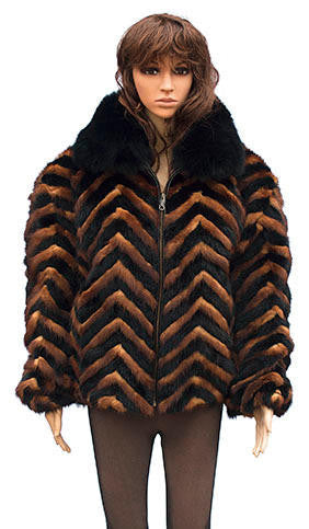 Winter Fur - W39S05BWK Ladies Chevron Mink Jacket in White/Black - Dudes Boutique