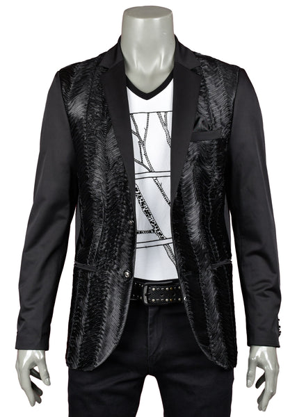 Mondo Black Ribbed Layered Blazer - Dudes Boutique