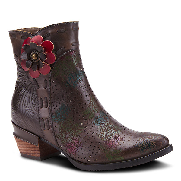 L'ARTISTE Olive Green Embellished Flower Leather Ankle Boots - Dudes Boutique